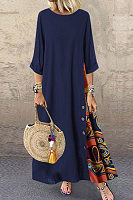 Round Neck Splice Maxi Dress