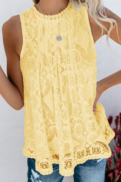Round Neck  Decorative Lace  Blouse