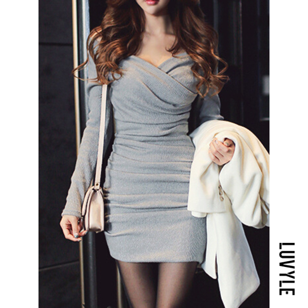 Gray Sexy V-Neck Ruched Plain Knitted Mini Bodycon Dress Gray Sexy V-Neck Ruched Plain Knitted Mini Bodycon Dress
