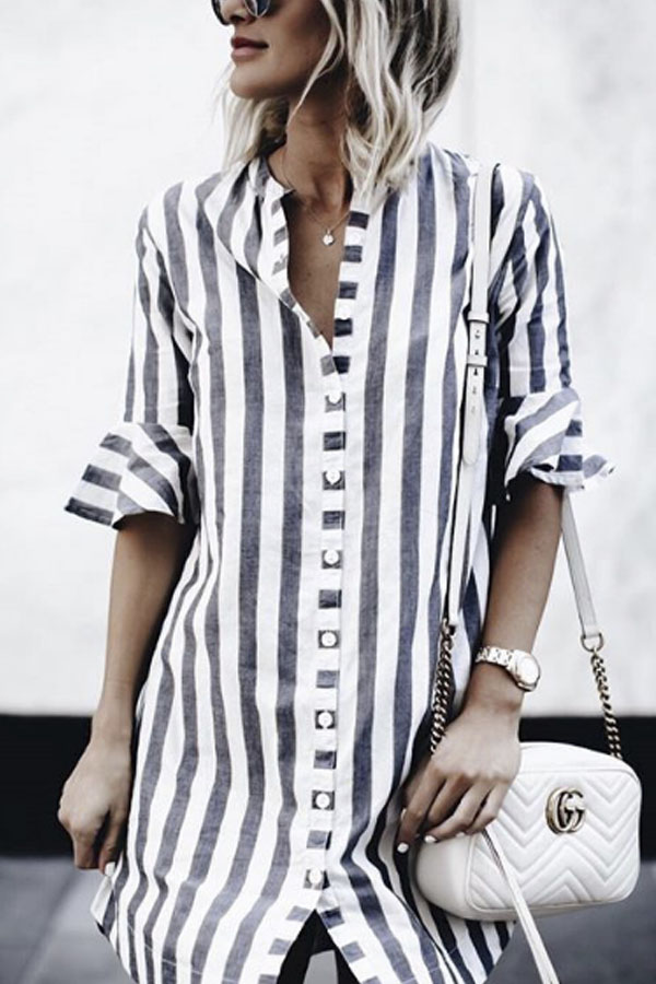 Beach Vives, Beautiful casual striped beach shirt with bell sleeves detail