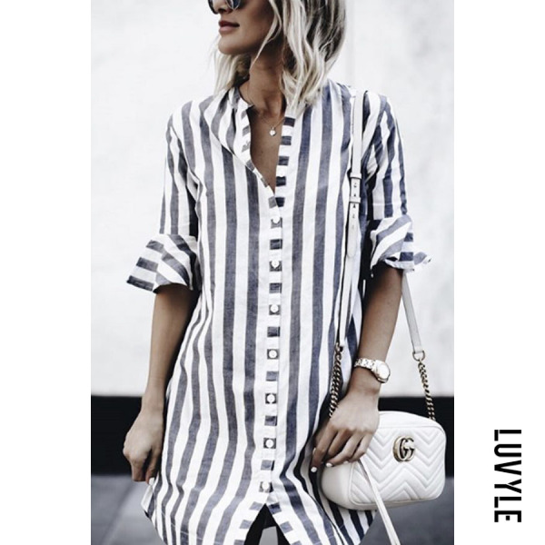 Gray V Neck Single Breasted Striped Bell Sleeve Half Sleeve Casual Dresses Gray V Neck Single Breasted Striped Bell Sleeve Half Sleeve Casual Dresses