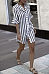 V Neck  Single Breasted  Striped  Bell Sleeve  Half Sleeve Casual Dresses