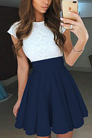 Round Neck  Bowknot  Belt  Lace Patchwork  Extra Short Sleeve Skater Dresses