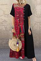 Plus Size Printed Round Neck Short Sleeve Maxi Dress