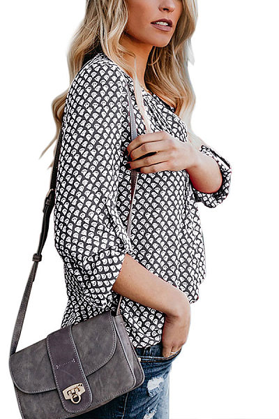 Bohemian Round Neck Slim Fit Long Sleeve Printed Colour Blouse