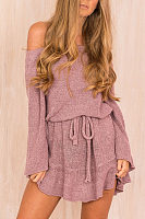 Off Shoulder  Belt  Plain  Bell Sleeve  Long Sleeve Casual Dresses