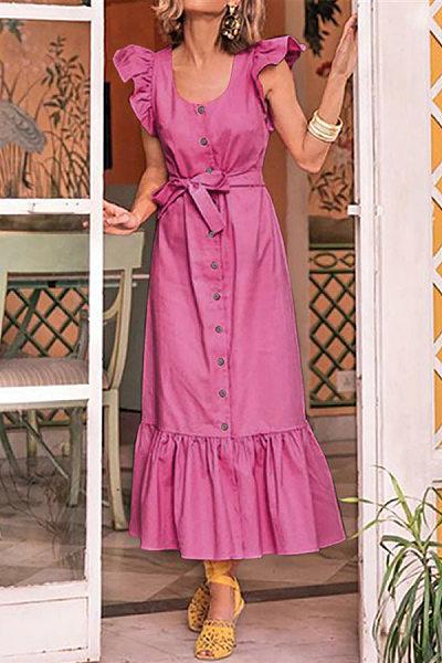 Ruffled Hem Single Breasted  Belt  Plain Maxi Dresses