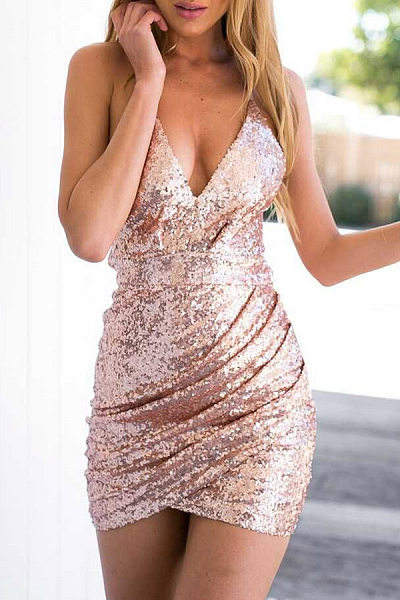 Sexy V Neck Curved Hem Sleeveless Party Dresses