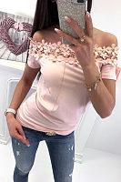 Off Shoulder  Hollow Out Plain T-Shirts