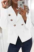 V Neck  Decorative Buttons  Plain Blazers