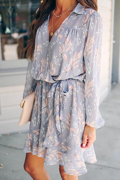 Daily Casual Deep V Neck Long Sleeve Printed Dress
