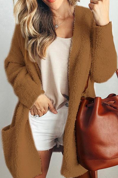 Kangaroo Pocket  Plain  Casual Outerwear