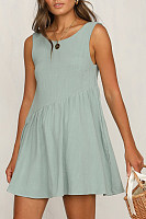 Round Neck  Loose Fitting  Plain  Sleeveless Skater Dresses