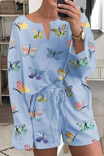 Butterfly Printed Two-piece Outfits