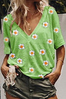 V Neck Short Sleeve Daisy Printed T-shirt