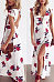 Deep V Neck  Backless High Slit  Floral Printed  Short Sleeve Maxi Dresses