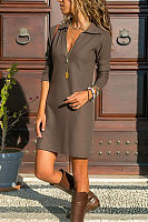 A Lapel Long Sleeve Plain Casual Dress