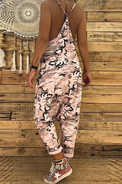 Spaghetti Strap  Backless  Camouflage  Sleeveless Jumpsuits