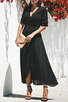 Deep V Neck  Plain  Half Sleeve Maxi Dresses