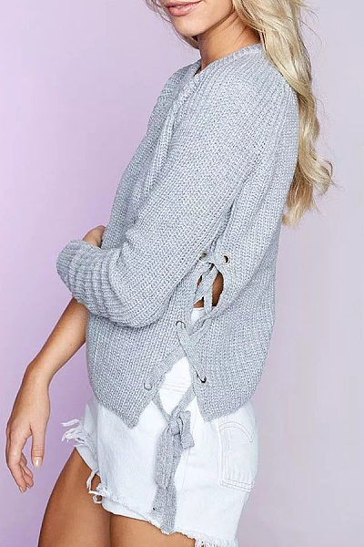 Round Neck  Lace Up  Patchwork Plain Sweaters