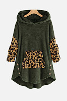 Casual Leopard Loose-Fitting Hoody