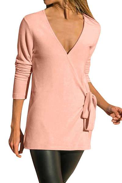 Sexy V Neck Plain Color Knit T-Shirts