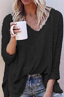 Ladies V Neck Loose-Fitting Plain Sweater