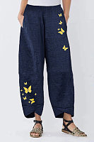 Loose Cotton And Linen Butterfly Print Pants