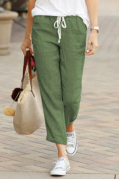 Solid Color Drawstring Cotton And Linen Cropped Pants