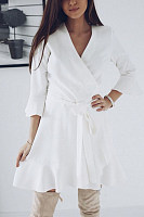 V Neck  Asymmetric Hem  Plain  Long Sleeve Skater Dresses