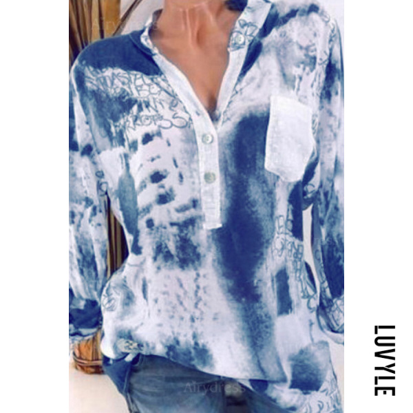 V Neck Long Sleeve Printed Pocket Casual Blouse