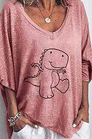 V-neck short sleeve solid color T-shirt