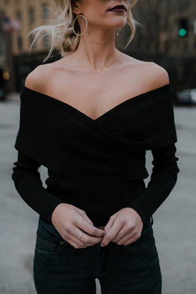 Off Shoulder Surplice  Plain Sweaters