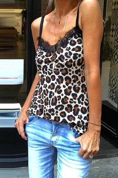 Women's Sexy Leopard Lace Off-Shoulder Camis