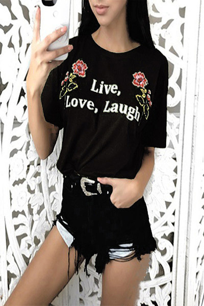 Casual Round Collar Rose Letter Print Short Sleeve T-Shirt