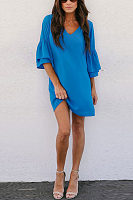 V Neck  Plain  Bell Sleeve  Half Sleeve Casual Dresses