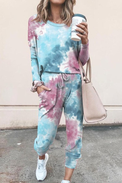 Tie-dye Casual Two-piece Outfits