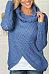 Cowl Neck  Asymmetric Hem Decorative Buttons  Plain Sweaters