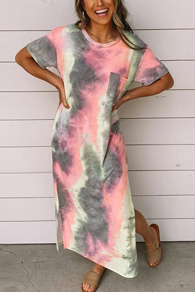 Women's Round Neck Short Sleeve tie-dye Printed Split Dress