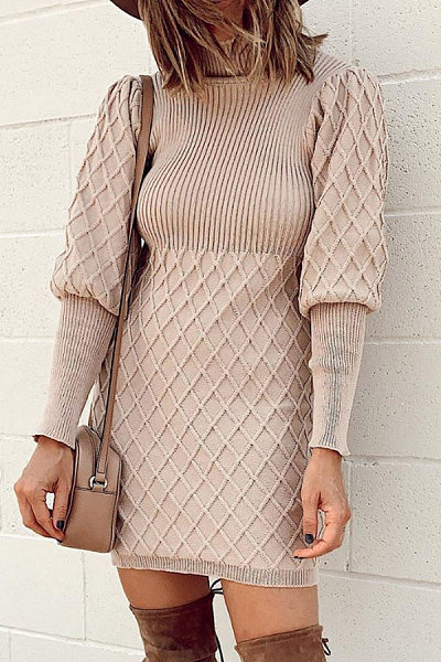 Casual High Collar Solid Color Long Sleeve Thread Knit Dress