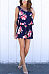 Round Neck  Floral Printed Two-Piece Outfits
