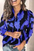 A Lapel Long Sleeve Printed Blouse
