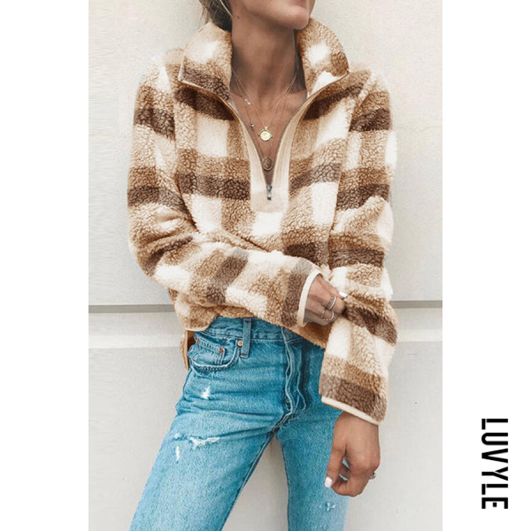 Fashion Lapel V Neck Zipper Long Sleeve Plaids Sweatershirts