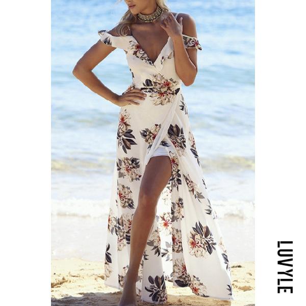 Boho Deep V Neck Flounce Floral Maxi Dresses