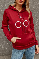 Solid Color Letter Print Hooded Sweater