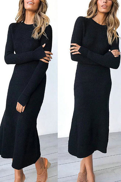 Round Neck  Plain  Long Sleeve Maxi Dresses