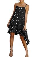 Spaghetti Strap  Asymmetric Hem  Dot  Sleeveless Casual Dresses