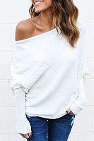 Open Shoulder  Plain  Batwing Sleeve Sweaters
