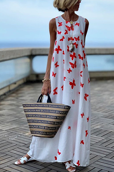 Sweet Sleeveless Printed Colour Floor-Length Casual Dress