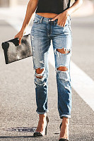 Elastic Slimming Elastic Hole   Fashion Jeans